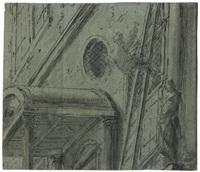 männliche figur an einem italienischen palazzo von der leiter stürzend by leonard bramer