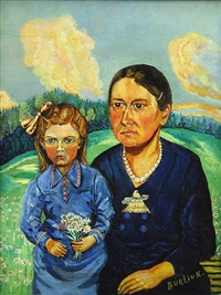 mother and daughter by david davidovich burliuk