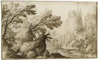 bergige landschaft mit einem castell by remigio cantagallina