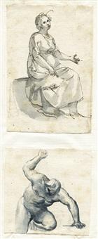 eine sitzende frau (study) (+ kniender nackter mann mit erhobenem arm, brush over graphite, smllr.; 2 works) by francesco allegrini