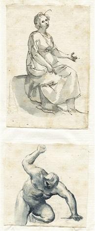 eine sitzende frau study kniender nackter mann mit erhobenem arm brush over graphite smllr 2 works by francesco allegrini