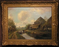 farm house near a canal by clemens wolters