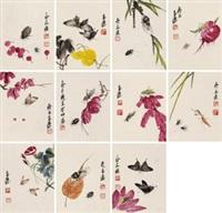 花鸟册 镜心 (十二开) 设色纸本 (album of 12) by qi liangchi