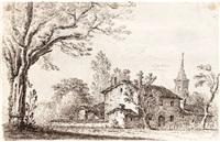 landschaft mit gehöft und kirchturm; ansicht eines palazzo (2 works) by remigio cantagallina