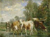 sommerliche landschaft mit kühen an der tränke by marie dieterle