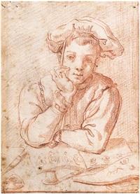 bildnis eines jungen zeichners vor seinem zeichenbuch by annibale carracci