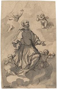 ein heiliger auf einer wolke schwebend (design for an altar piece) by johann jacob eybelwieser