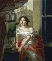 junge dame mit papagei am fenster by françois ange