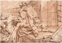 allegorische darstellung mit dem kampf zweier mischwesen, im hintergrund eine naumachie by anonymous-german (16)