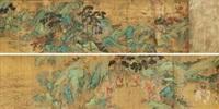 青绿山水群仙罗汉图手卷(入框两幅) by liu songnian