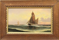 sailboats on the ocean by theodore victor carl valenkamph