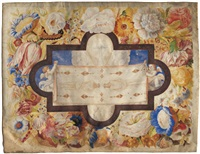 das leichentuch christi von zwei engeln gehalten, umgeben von einer blumengirlande by giovanna garzoni