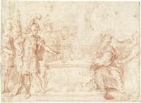 mucius scaevola vor porsenna (+ stehende figuren in antiken gewändern an einer altarmensa, verso) by joachim von sandrart the elder