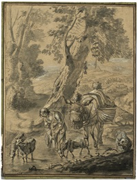 pastorale landschaft mit ziegenhirtin und esel an einer quelle by jacob van der does the elder