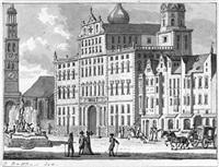 blick auf das augsburger rathaus mit dem perlachturm und dem augustusbrunnen by jan bulthuis