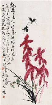 花蝶图 立轴 设色纸本 by various chinese artists