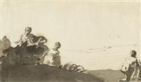 badeszene mit drei weiblichen und einer männlichen figur am meeresufer by dirck van der lisse