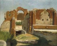 römische ruinen im abendlicht (thermen des caracalla?) by carl von der hellen
