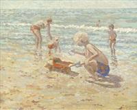 spielende kinder am strand by cornelis koppenol