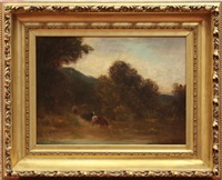 landscape with cows and herder by edward rufus hill