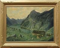 geirangerfjord med soterheiser (the seven sisters waterfalls) by conrad hans selmyhr