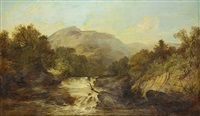 fisherman along a swift moving river by james burrell smith
