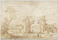 dorflandschaft mit einem verfallenen mittelalterlichen stadttor by gillis claesz de hondecoeter