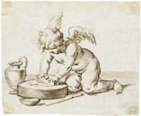 allegorie der künste: drei putti beim malen, radieren und töpfern (3 works) by jacopo alessandro calvi
