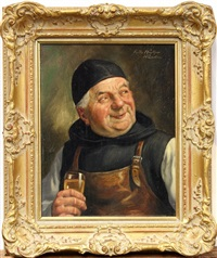 smiling monk with glass of wine by fritz muller