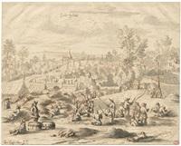 soldaten bei militärischen übungen in einem feldlager by josua de grave
