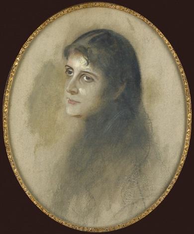 dreiviertelportrait der jungen frau astor by franz seraph von lenbach