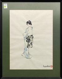 portrait of a woman wearing a kimona by chiura obata