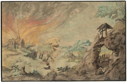 landschaft mit brennender kirche im vordergrund ein eremit bei seiner klause by daniel van heil
