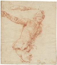 studienblatt mit einem berittenen und einer hand mit pistole (study) by johann philipp lemke
