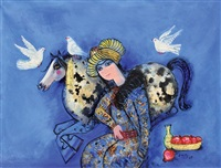 man with horse and doves by nasser ovissi