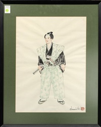 portrait of a samurai warrior by chiura obata