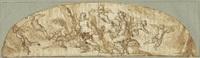 allegorische darstellung mit zwei engeln in einer landschaft, umgeben von putti by lazzaro tavarone