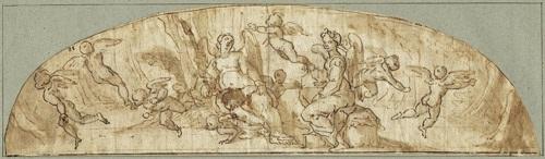 allegorische darstellung mit zwei engeln in einer landschaft umgeben von putti by lazzaro tavarone