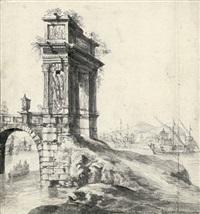 capriccio mit einem antiken triumphbogen vor einem mediterranen hafen by jan abrahamsz beerstraten