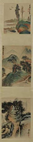 山水人物 landscapes 3 works on 1 scroll by zhang daqian