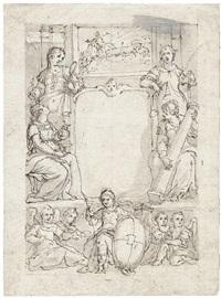 titelentwurf mit den vier kardinaltugenden und kartusche by johann mathias kager