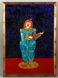 clown with violin by prince monyo mihailescu-nasturel