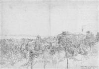verfallenes kloster auf der halbinsel bey sorrent, im hintergrund neapel, und vesuv, july 1834 by friedrich eugen peipers