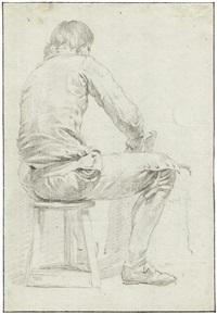 rückenansicht eines jungen mannes, auf einem schemel sitzend by hermanus van brussel
