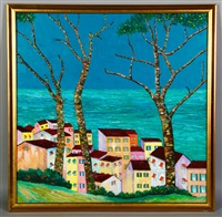 landscape with houses by prince monyo mihailescu-nasturel