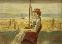 portrait of a lady seated by the beach by isaac israels