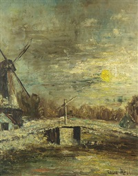 windmill by the sun in a wintery landscape by louis apol