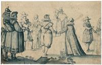 kavaliere mit ihren damen by meister des petersburger skizzenbuchs