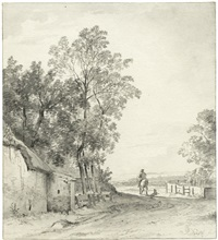 reiter bei einem gehöft in einer landschaft (+ baum (study); verso) by jacob de rijck