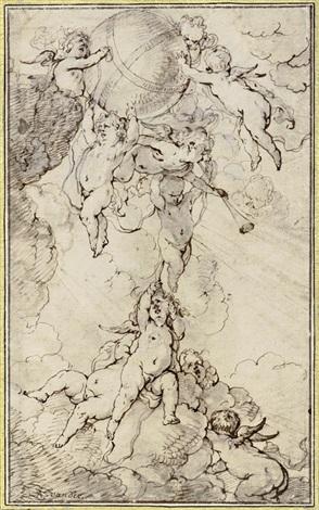 putti auf wolken einen globus tragend by sir anthony van dyck